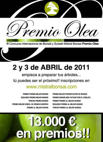 Cartel Premio Olea Mistral Bonsai - 13000 euros en Premios